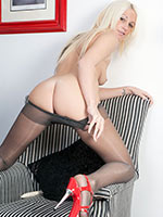 Blonde Lil\\\' Santa Krystal Plays In Her Grey Pantyhose - Picture 12