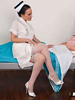 Nurse Helps Jessica Into Her Garter Belt Sheer Panties And Rht Nylons! - Picture 2