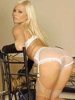 Nyloned Couger With Sheer Panties - Picture 8