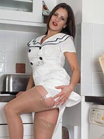 Val Plays The Sailor Girl In Vintage Ff Nylons And Spiky Heeled Sandals! - Picture 3