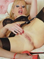 Nyloned Milf Michelle Plays Toys In The Bedroom - Picture 14
