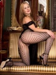Sexy Pics 4 U- Aston Wilde – A pantyhose stripe tease! @ Pantyhose4u.net